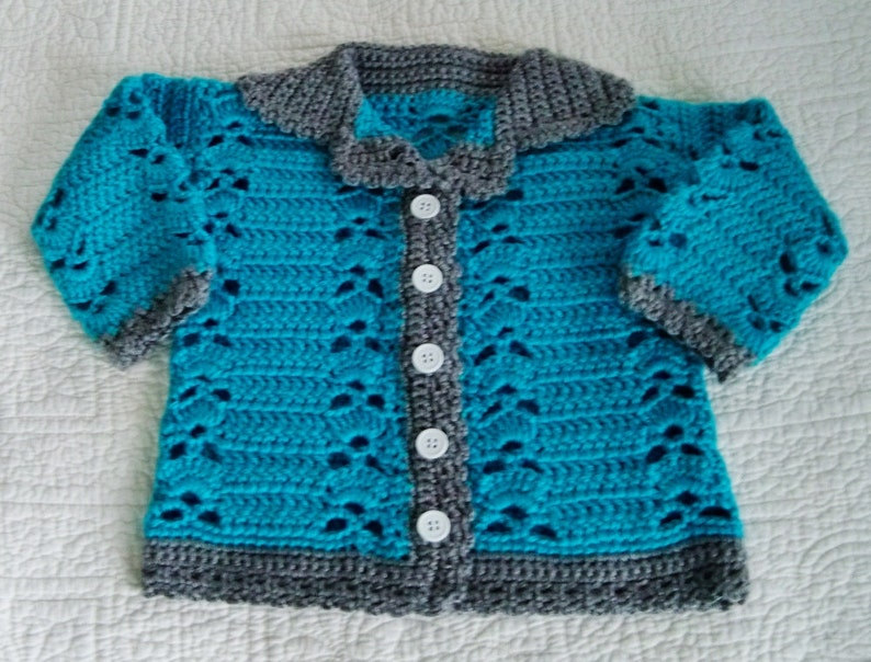 Baby Sweater Crochet Baby Sweater Baby Cardigan 12 18 Etsy