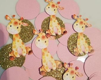 Giraffe confetti, Giraffe, Giraffe baby shower, Giraffe it's a girl, Giraffe decorations, girl giraffe decorations, giraffe party