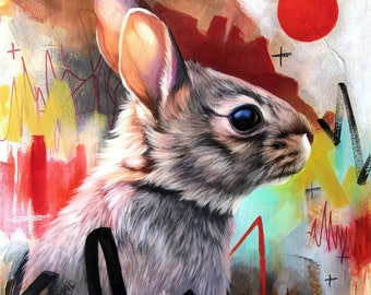 Rabbit ORIGINAL oil painting. One of a kind artwork. Fine artwork. 14x18 inches