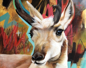 Pronghorn ORIGINAL oil painting. One of a kind artwork. Fine artwork. 14x18 inches
