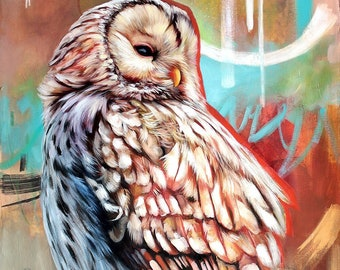 Owl ORIGINAL oil painting. One of a kind artwork. Fine artwork. 20x40 inches