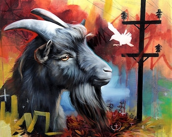Goat ORIGINAL oil painting. One of a kind artwork. Fine artwork. 18x18 inches