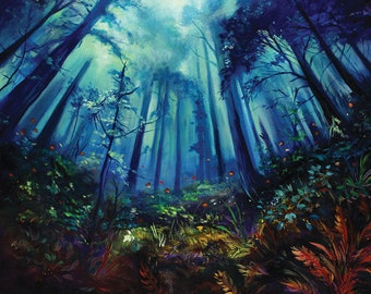 Giclée PRINT. Colorful forest surreal dreamy landscape art. Fine Limited edition 11x14 inches museum quality print numbered and hand-signed