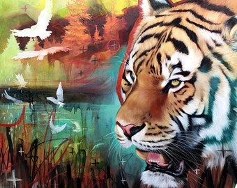 Tiger and white birds ORIGINAL oil painting. One of a kind artwork. Fine artwork. 30x36 inches
