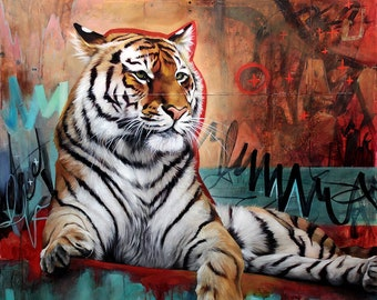 Tiger ORIGINAL oil painting. One of a kind artwork. Fine artwork. 36x36 inches