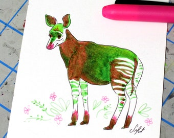 Neon okapi made with highlighters. Original drawing. Green and pink okapi. One of a kind illustration. 4x6 inches