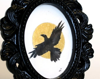 Miniature raven with golden moon original framed watercolor painting. Tiny artwork. Black frame. Minimalist painting. 2x3 inches