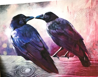 Ravens in love PRINT. Bird, crow painting print on 8x10 inches archival quality hand-signed matte paper