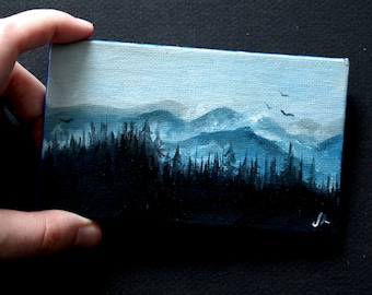 Blue and black landscape painting. Landscape study original painting. One of a kind. Blue mountains and forest. 3x5 inches on canvas board.
