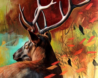 Deer ORIGINAL oil painting. One of a kind artwork. Fine artwork. 20x30 inches