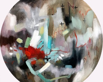 Abstract circle painting ORIGINAL oil painting on canvas. Fine art original painting. 13 inches diameter