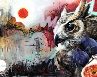 Owl ORIGINAL oil painting. One of a kind artwork. Fine artwork. 16x24 inches