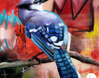 Blue jay with crown ORIGINAL oil painting on canvas. Fine artwork. One of a kind. 10x10 inches
