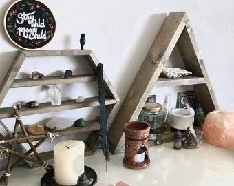 Triangle Shelf - Geometric Shelf - Plant Shelf - Crystal Shelf - Wall Shelf - Triangle Shelves - Shelves - Wall Decor - Floating Shelf Altar