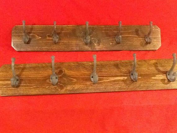 "38/"" Hand Made Hat An Coat Rack Made Reclaim Wood Tri-Flare Satin Nickel Hooks"