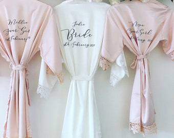 4aa2273e05 CATHERINE silk and lace bridal robes in standard and plus sizes and child  sizes