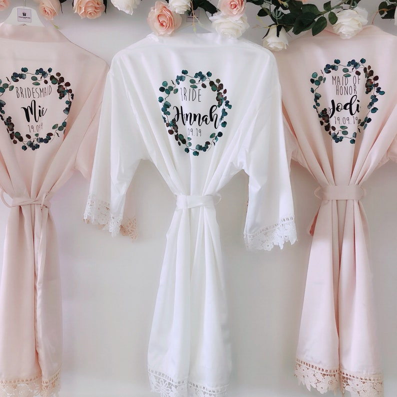 PEARL EMERALD silk and lace bridal robes in standard and plus Blush pink