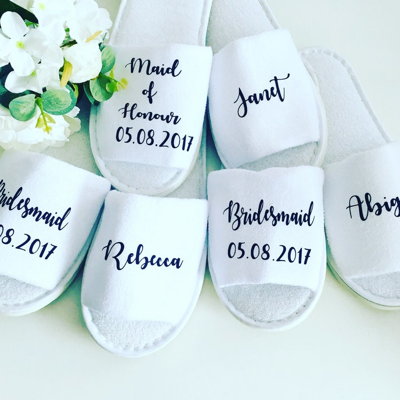 35602f592481 CUSTOM Personalised wedding slippers bridal party slippers