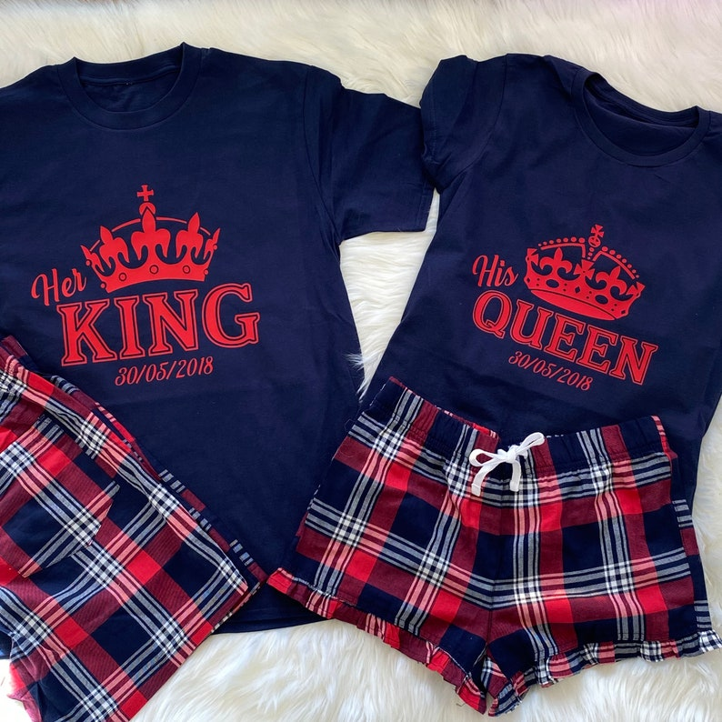 married couple pyjamas King and Queen matching pyjamas His and Her pyjamas set New Mr and Mrs Pyjamas Set