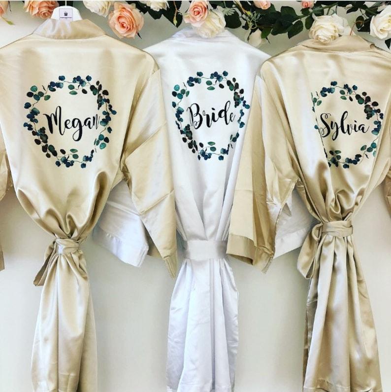 EMERALD Bridal robes with greenery Greenery Bridal Robe Champagne