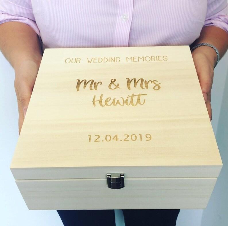 Wedding Memory Box Luxury Wooden Engraved Memory Box Wooden Keepsake Box