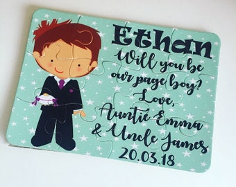 Will you be our page boy jigsaw puzzle, will you be our ring bearer, page boy gift, page boy proposal, ring bearer jigsaw