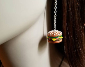 Cheeseburger Earrings, Miniature, Kawaii, Cheeseburger, Hand Sculpted, Clay Jewelry, Gift for Her, Cute Earrings, Mini Cheeseburger, Food