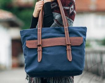 canvas bag women handbag canvas tote bag gift for her leather bag shoulder bag leather handbag waxed canvas bag canvas travel bag market bag