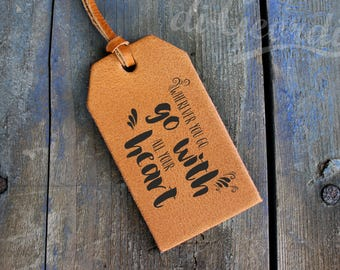 Collect moments not things custom luggage tag leather luggage