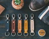 leather keychain personalized keychain for men, custom keychain, leather key holder, custom coordinates keychain, edc gear
