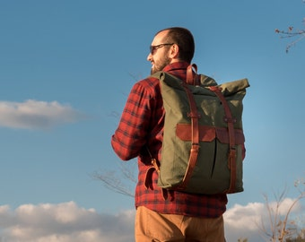 roll top backpack men canvas leather backpack men waxed canvas backpack laptop backpack mens backpack rucksack hipster backpack