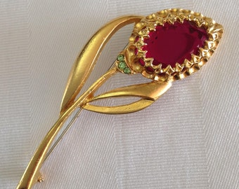 Vintage Pink Tulip Flower Brooch Pin