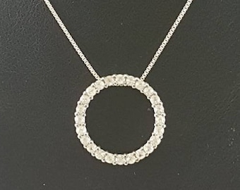 Vintage 925 Silver Eternity Circle Pendant Necklace with Bead Set Clear Stones