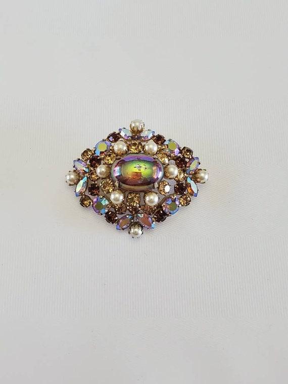 Sherman Aurora Borealis Crystal and Pearl Brooch S