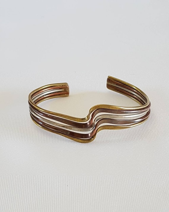 Abstract Copper Cuff Bracelet Vintage Copper Jewelry