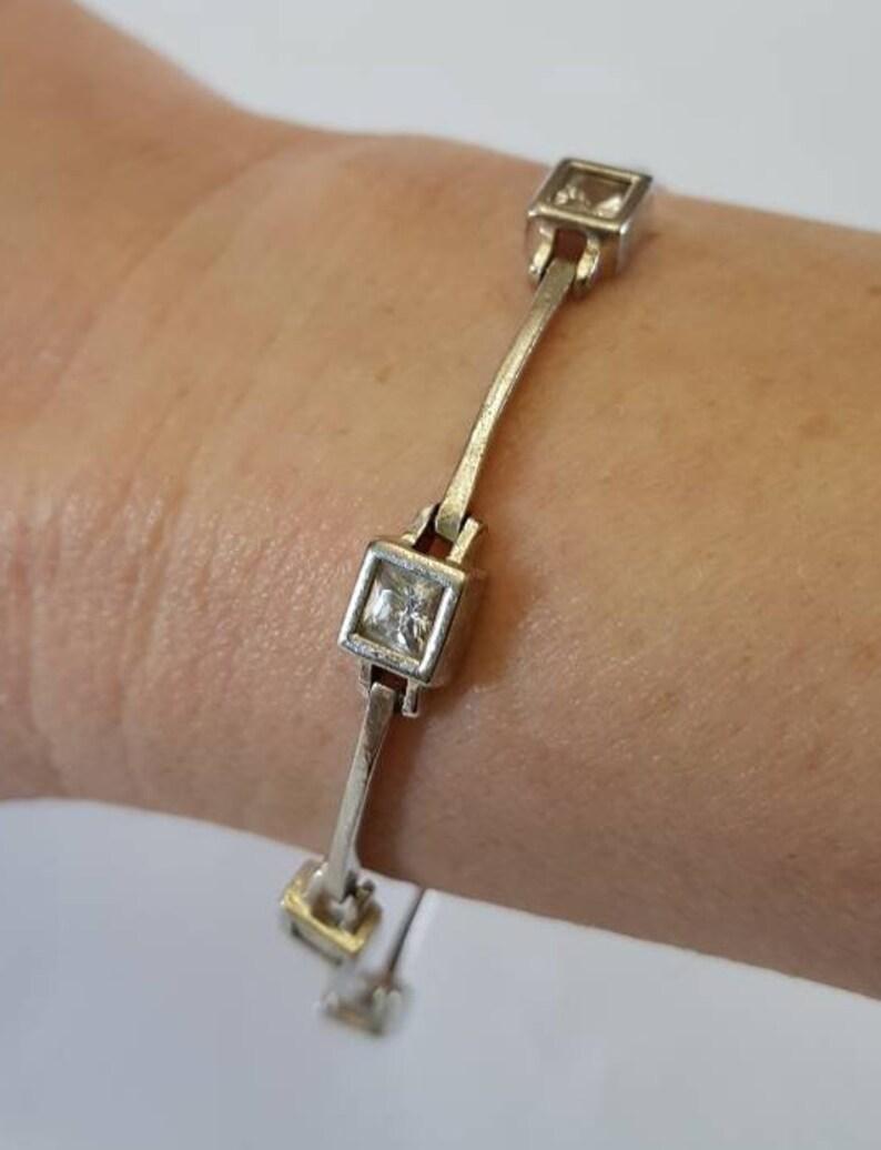 Modernist Bar Link Bracelet with Bezel Set Square Clear Stones Vintage 925 Silver Bracelet Vintage Jewelry Silver Bracelet