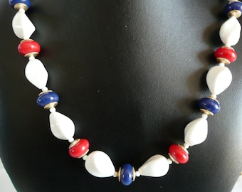 Vintage Red White and Blue Necklace
