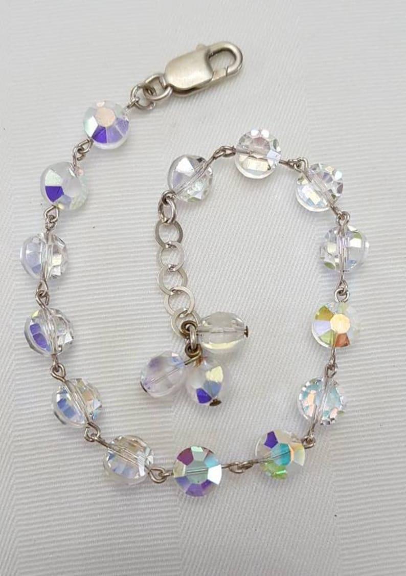 Aurora Borealis Crystal Bracelet Vintage Crystal Bracelet with 925 Silver Clasp Vintage Jewelry Crystal Jewelry Crystal Bracelet