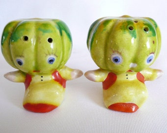 Vintage Squash, Gourd, Mellon Head Salt and Pepper Shakers Made in Japan