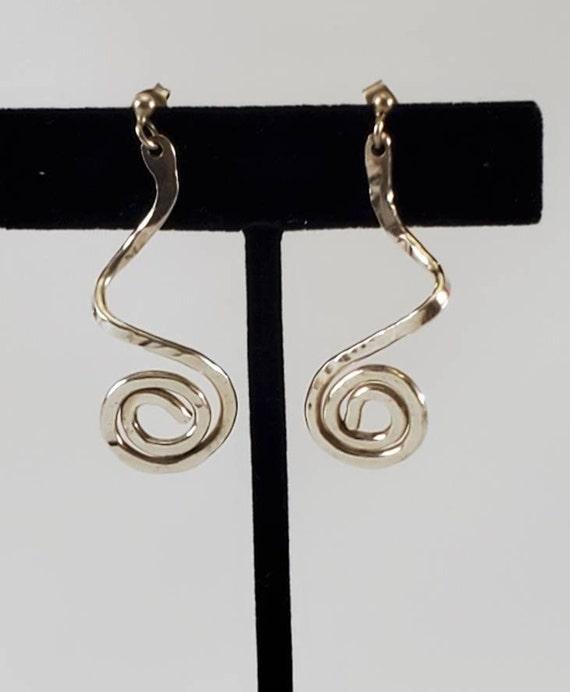 Sterling Silver Spiral Swirl Earrings Made in Birm