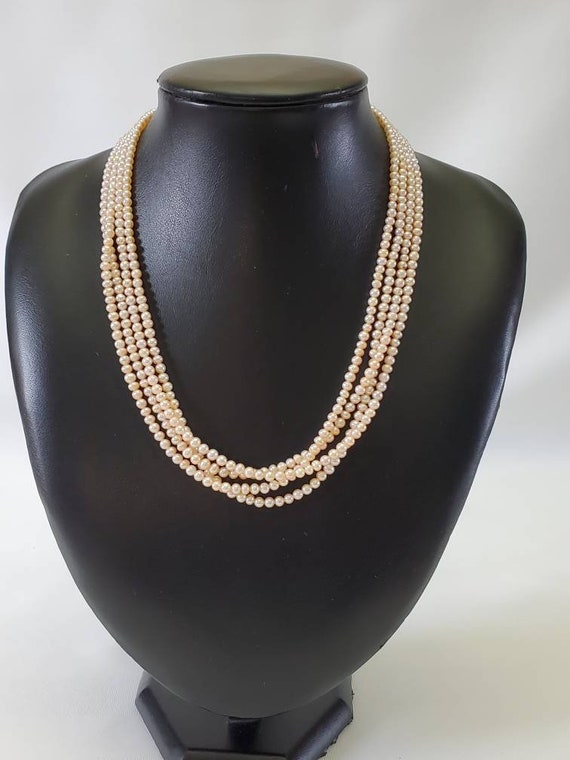Pink Pearl Necklace Multi Strand Real Pearl Neckla