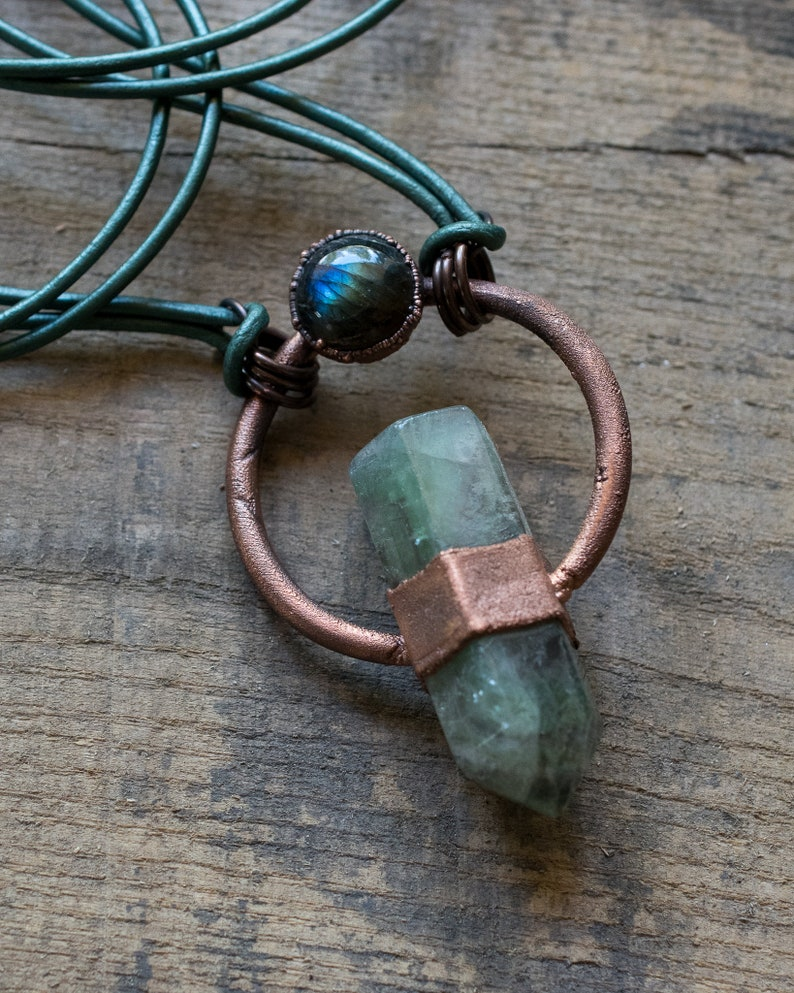Fluorite Labradorite Necklace  Statement Necklace  Antiqued Copper  Electroformed Copper  Healing Crystals  Summer Jewelry  Boho Style