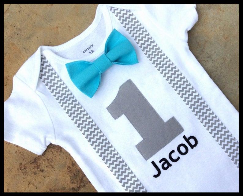 f09ddc5950a0f Boys First Birthday Outfit - Baby Boy Clothes - Grey Chevron Birthday  Number Outfit - Birthday Bow Tie Turquoise Aqua Gray Grey Birthday Boy