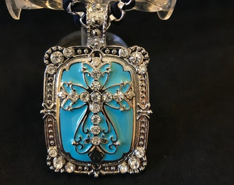 Western Style Silver/Turquoise Cross, Rear View Mirror Charm, Car Truck SUV Accessories, Window Hanger, Ornament