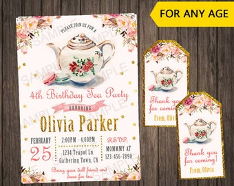 Tea Party Birthday Invitation Floral First Ideas Invitations Pink And Gold Printable 1st Baby Girl