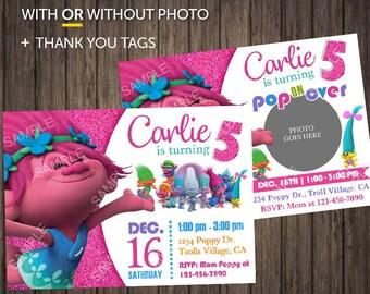 Trolls Invitation Birthday Party Download Printable Digital 4x6 Printed With Photo Invitations Picture Princess Poppy Invite