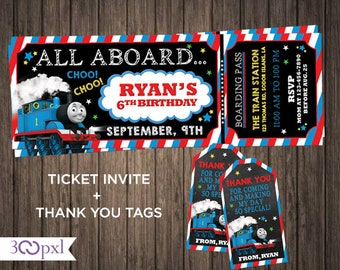 Thomas The Train Birthday Invitations Invitation Ticket Invite