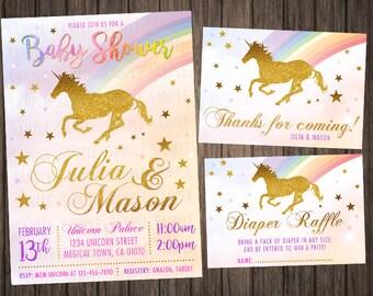 Unicorn Baby Shower Invitation Baby Shower Invite Girl Baby Shower Invitations Download Printable Invites Shower Invitation Girl Printed Kit