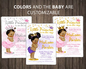 Baby shower invitation etsy princess baby shower invitation little princess girl african baby shower invitation royal baby shower invite pink and gold printable filmwisefo