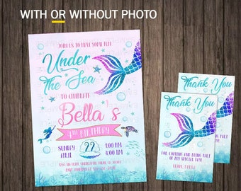 Mermaid Invitation Little Birthday Invitations Printable Tail Download With Photo First Girl Under The Sea Party